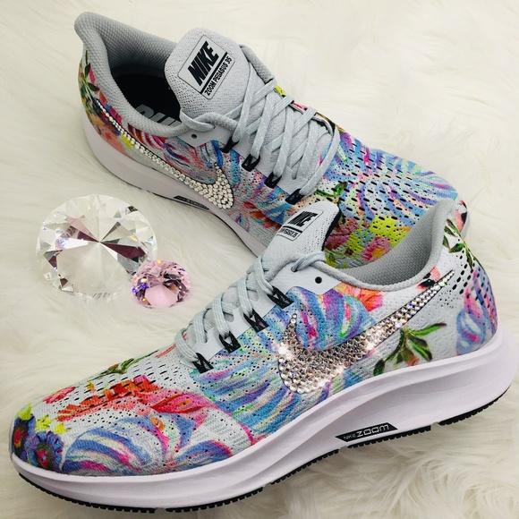 Bling Nike Air Zoom Pegasus 35 Floral w  Swarovski 257bf3720